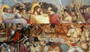 El beso de Judas representado por Giotto en  la Capilla de los Scrovegni (Padua, Italia). Mural Diego Rivera Palacio Nacional México
